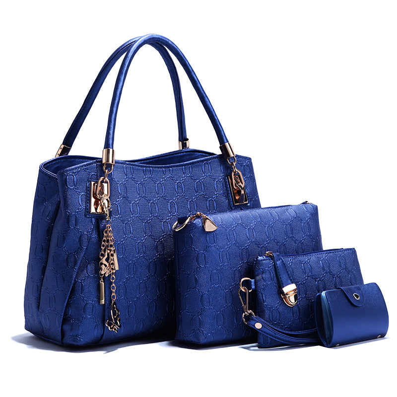 Women's bags wholesale 2019 new three-piece condom mother bag European and American fashion noble gold embossed women's bags