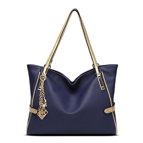 Hand-Held Slanted Shoulder Leather Handbag