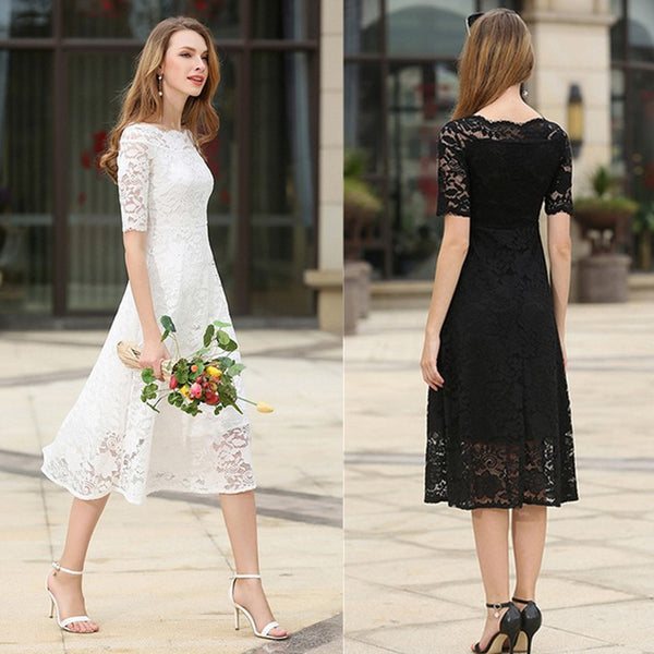 Summer new European station foreign trade women's 2017 word collar short-sleeved lace slim mare mid-length dress new