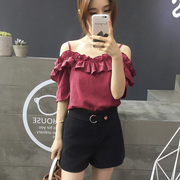 #1006 real shot spot explosion models Spot word shoulder loose short-sleeved chiffon shirt collar female strapless flounced sling