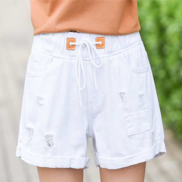 2019 denim shorts female summer hole elastic waist drawstring cuffs straight Direct factory upgraded version