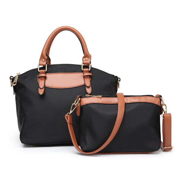 Hand-Held Slanted Leather Handbag