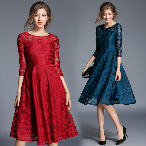Spring foreign trade European station women's wear 2019 European and American fashion all-around 7-sleeve slim fit medium length large swing dress