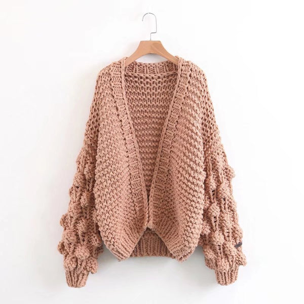 Foreign trade long direct sale western style V collar lamp cage sleeve thickened sweater woman coat L1290