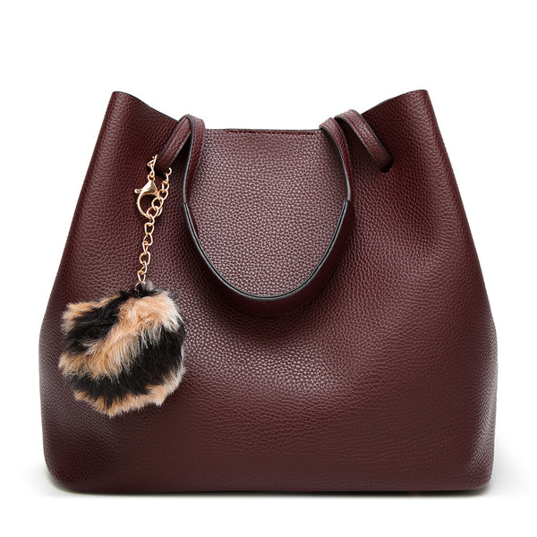Hand-held Single Shoulder Leather Handbag