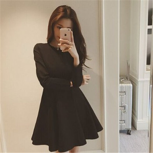 2019 autumn and winter collection of multi-style V-neck long-sleeved dress Slim thin large size women bottoming skirt female tide