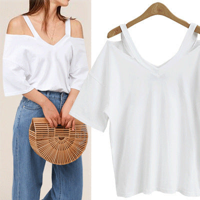 Spot 2019 new large European and American V-neck hollow off shoulder loose temperament short sleeve T-shirt Amazon cross border supply