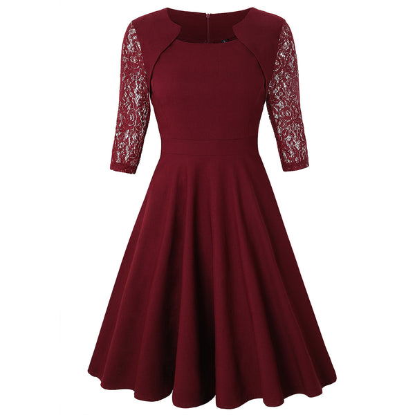 Amazon supply of good quality women's summer new square collar big skirt retro floral lace dress