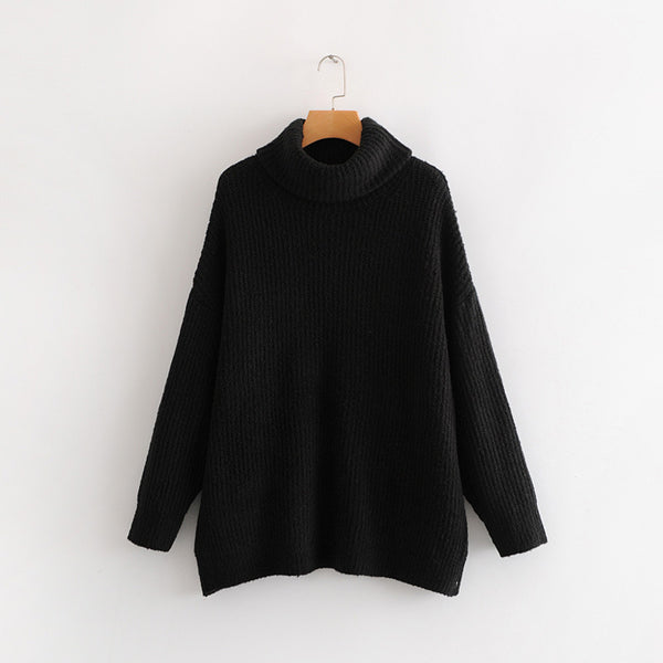 High Collar Long Solid Color Pullover