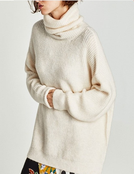 Spanish single European and American candy high collar loose long sleeve Pullover Sweater for women h011