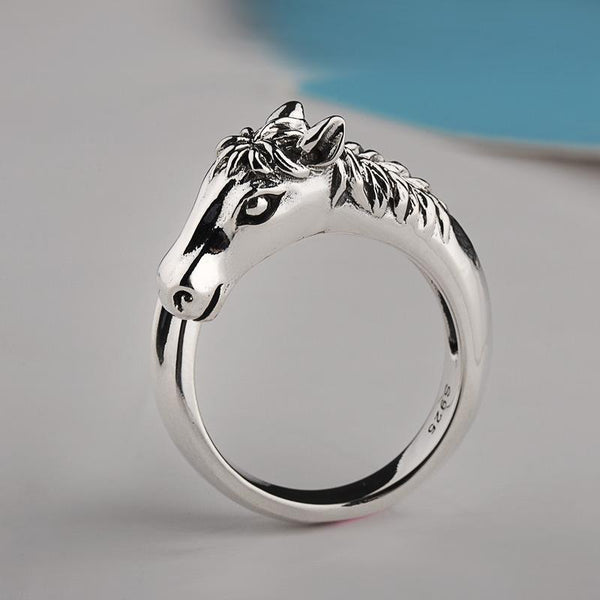 Trendinggate.com 925Silver Korean version of the new fashion men's and women's universal ring simple horse head ring personality bullying index ring wholesale