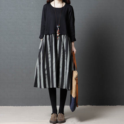 Hitz 2020 Korean version of the loose large size women's fashion comfortable striped linen dress female 088