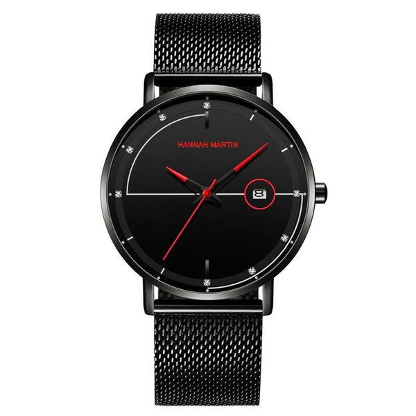 Trendinggate.com Amazon Stainless Steel Mesh Waterproof Ultra-thin Calendar Watch with Japanese Machine Core