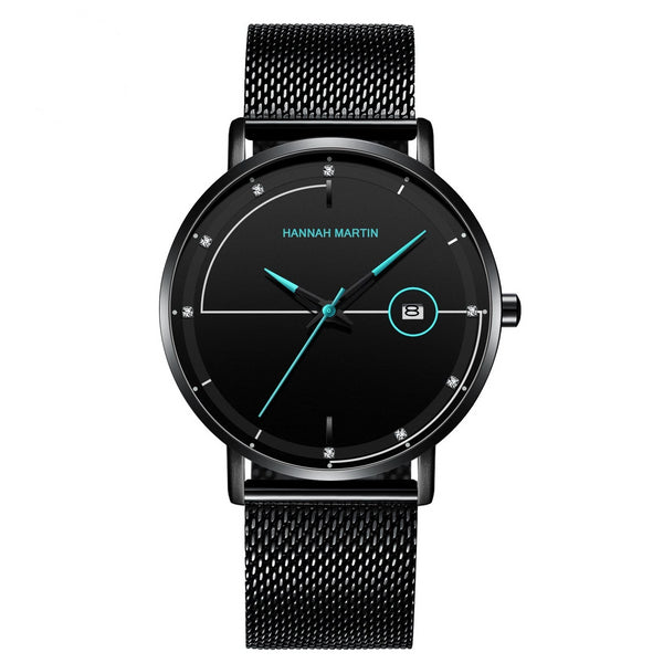 Trendinggate.com HM-10101 珊瑚蓝 Amazon Stainless Steel Mesh Waterproof Ultra-thin Calendar Watch with Japanese Machine Core