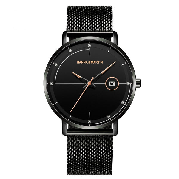 Trendinggate.com HM-10101 F Rose Gold Amazon Stainless Steel Mesh Waterproof Ultra-thin Calendar Watch with Japanese Machine Core