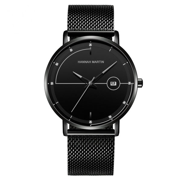 Trendinggate.com HM-10101 H 黑 Amazon Stainless Steel Mesh Waterproof Ultra-thin Calendar Watch with Japanese Machine Core