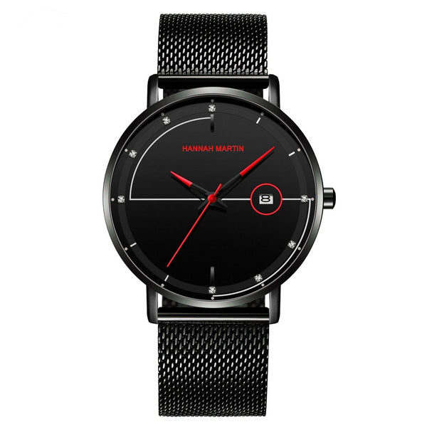 Trendinggate.com HM-10101 red Amazon Stainless Steel Mesh Waterproof Ultra-thin Calendar Watch with Japanese Machine Core