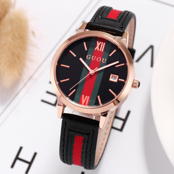 Trendinggate.com Ancient Europe hot leather ribbons fashion casual student waterproof calendar quartz watch supports a generation of hair