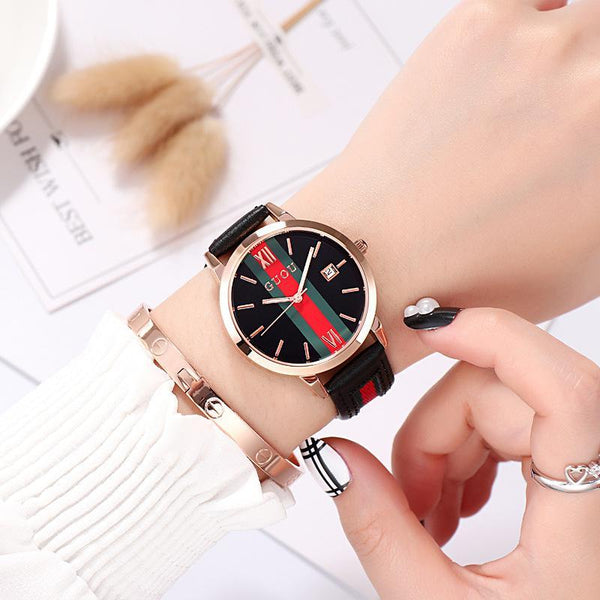 Trendinggate.com Black Ancient Europe hot leather ribbons fashion casual student waterproof calendar quartz watch supports a generation of hair