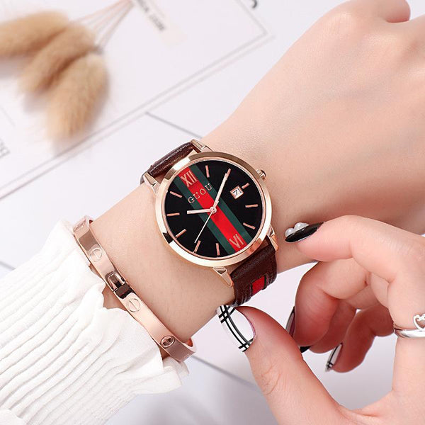 Trendinggate.com brown Ancient Europe hot leather ribbons fashion casual student waterproof calendar quartz watch supports a generation of hair
