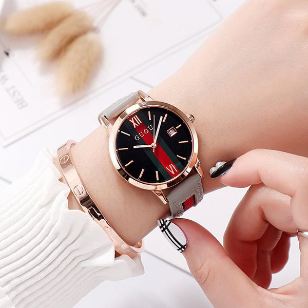 Trendinggate.com gray Ancient Europe hot leather ribbons fashion casual student waterproof calendar quartz watch supports a generation of hair