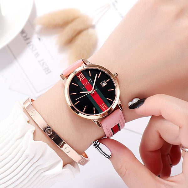 Trendinggate.com pink colour Ancient Europe hot leather ribbons fashion casual student waterproof calendar quartz watch supports a generation of hair