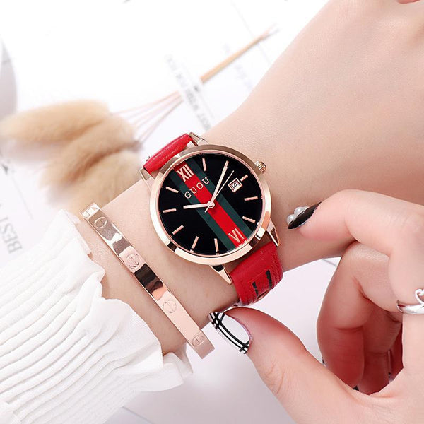 Trendinggate.com red Ancient Europe hot leather ribbons fashion casual student waterproof calendar quartz watch supports a generation of hair
