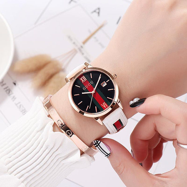 Trendinggate.com White Ancient Europe hot leather ribbons fashion casual student waterproof calendar quartz watch supports a generation of hair