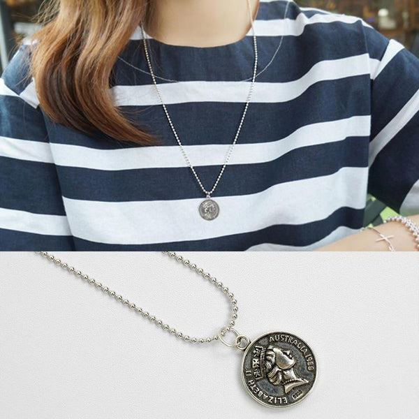 Trendinggate.com AP1475 Korean version S925 sterling silver retro do old long round dollar coin pendant pendant necklace sweater chain