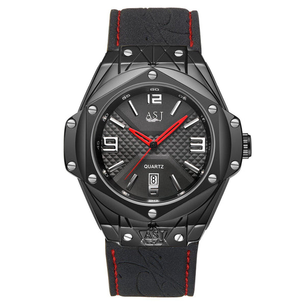 Trendinggate.com Men's Watches Black cat with black shell ASJ simple leather band looks right in any setting
