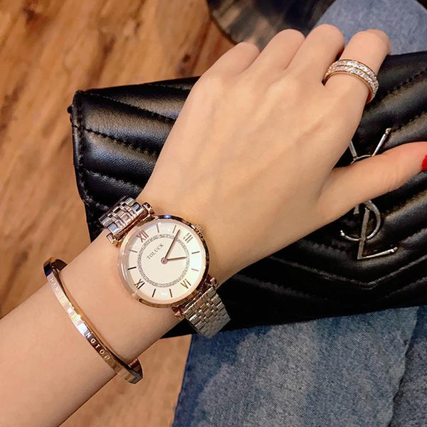 Trendinggate.com white (colour) Authentic lady watch women's watch fashion new girls watch simple steel belt waterproof casual student women's quartz watch