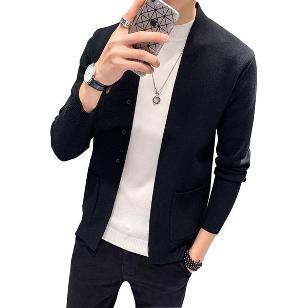 Trendinggate.com Autumn and winter men Korean version of long - sleeved sweater cardigan fashion knitted coat.