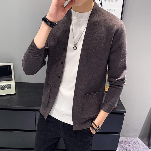 Trendinggate.com brown / 2XL Autumn and winter men Korean version of long - sleeved sweater cardigan fashion knitted coat.