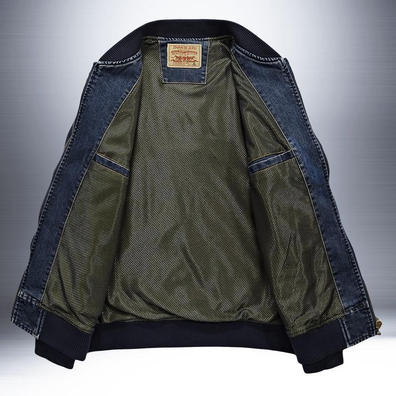 Trendinggate.com Autumn new jacket men's denim jacket loose large size simple casual work jacket 66007