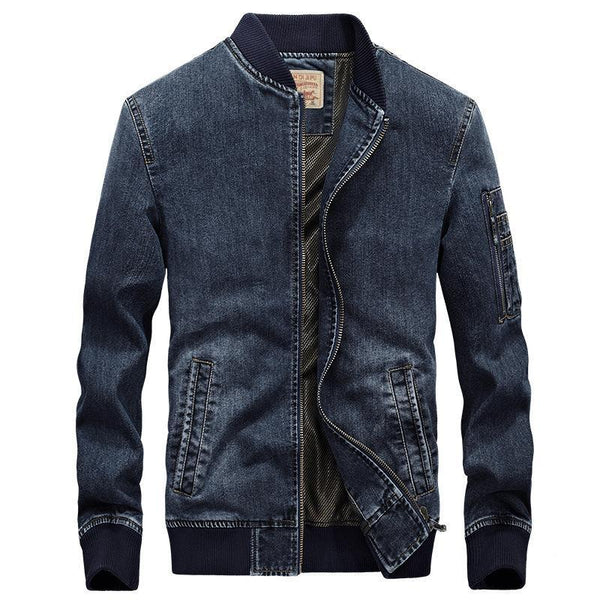 Trendinggate.com Navy Blue / 2XL Autumn new jacket men's denim jacket loose large size simple casual work jacket 66007