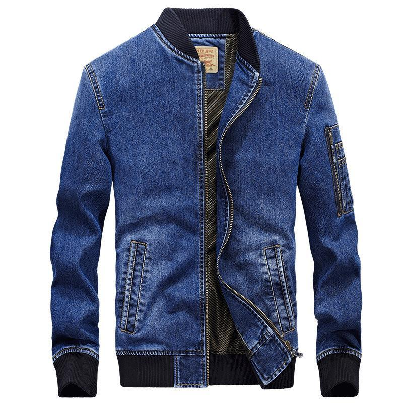 Trendinggate.com Wathet / 2XL Autumn new jacket men's denim jacket loose large size simple casual work jacket 66007