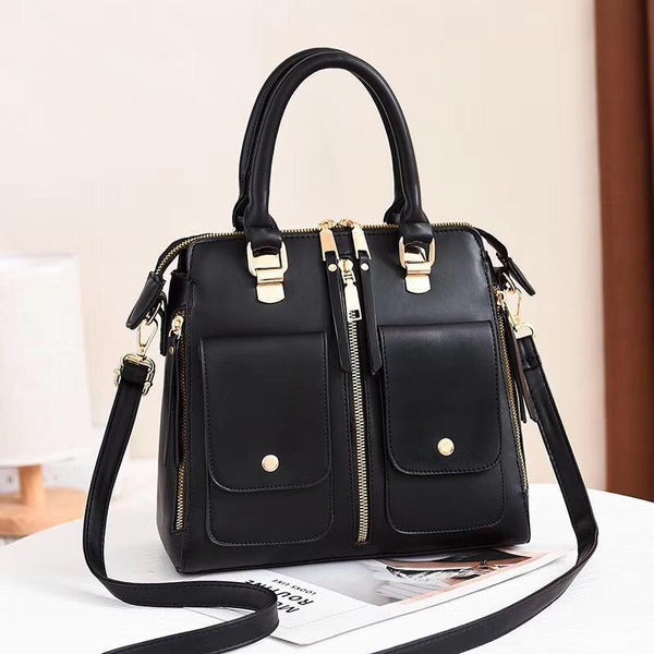 Trendinggate.com black Bag Girl 2019 new elegant one-shoulder bag stylish casual stiletto bag trendy mom bag PU leather handbag