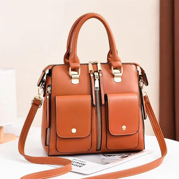 Trendinggate.com Earth yellow Bag Girl 2019 new elegant one-shoulder bag stylish casual stiletto bag trendy mom bag PU leather handbag