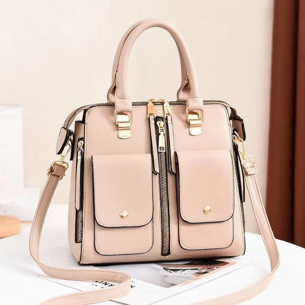 Trendinggate.com Khaki Bag Girl 2019 new elegant one-shoulder bag stylish casual stiletto bag trendy mom bag PU leather handbag