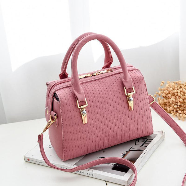 Trendinggate.com Pink Bag Girl 2019 new fashion women's bag retro air one-shoulder slant edith bag sweet PU handbag one-piece hair