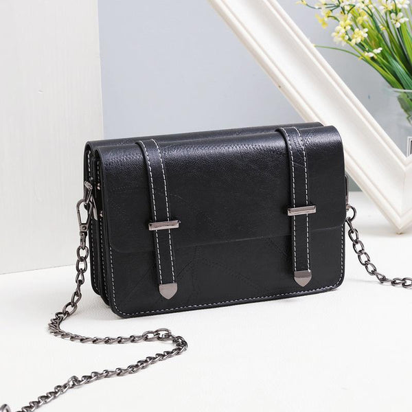 Trendinggate.com black (colour) Bag girl 2019 summer new bevel bag Hong Kong wind chain postman package Korean version of the stylish mobile phone small square bag