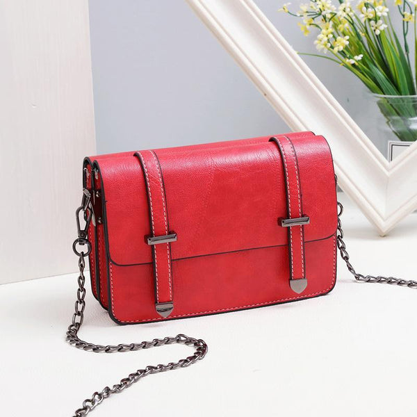 Trendinggate.com Red Bag girl 2019 summer new bevel bag Hong Kong wind chain postman package Korean version of the stylish mobile phone small square bag