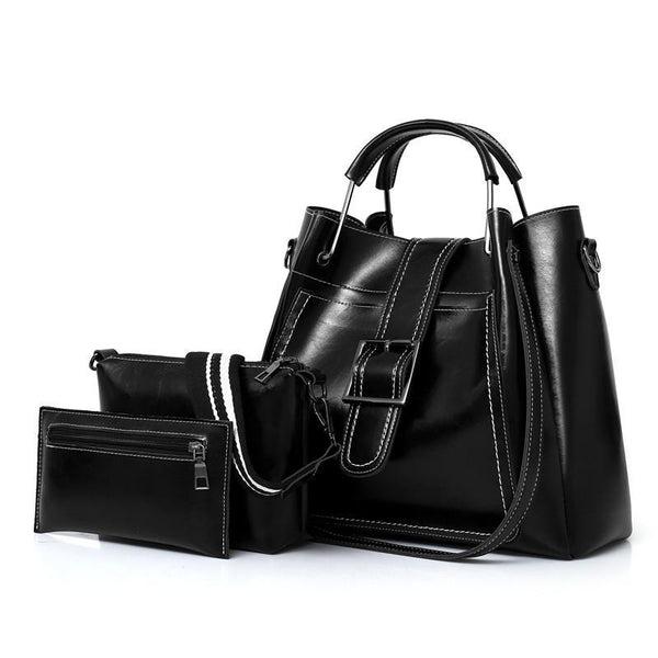 Trendinggate.com Black bag2018New Kind of Three-piece Mother Bag Set European and American Fashion Women's Single Shoulder Slant Bag Handbag Bucket
