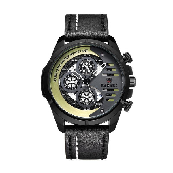 Trendinggate.com Black-shell gold-faced black belt BAGARIMen's watch