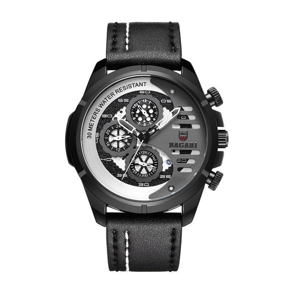 Trendinggate.com Black shell grey face black belt. BAGARIMen's watch