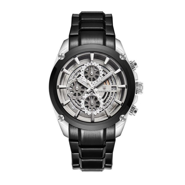 Trendinggate.com Black belt of silver-black shell BAGARIWatch 2019 new men wristwatch sport waterproof multi-function steel belt men's watch