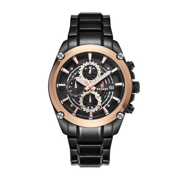 Trendinggate.com Black Rose Shell Black Belt BAGARIWatch 2019 new men wristwatch sport waterproof multi-function steel belt men's watch