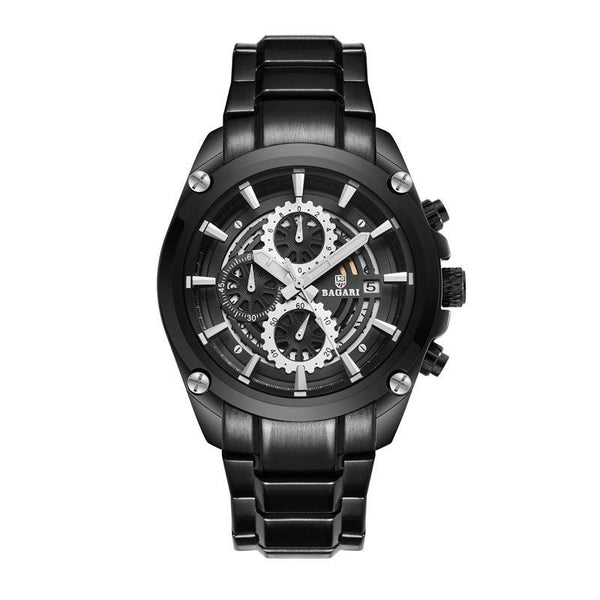 Trendinggate.com Black shell black surface black belt BAGARIWatch 2019 new men wristwatch sport waterproof multi-function steel belt men's watch