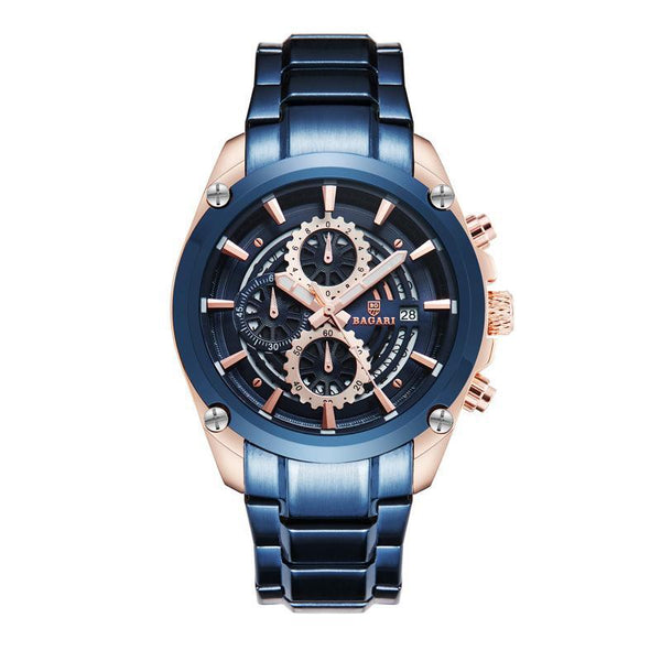 Trendinggate.com Rose blue shell blue face blue belt BAGARIWatch 2019 new men wristwatch sport waterproof multi-function steel belt men's watch