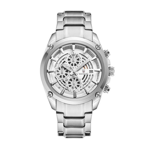 Trendinggate.com Silver-shell silver belt BAGARIWatch 2019 new men wristwatch sport waterproof multi-function steel belt men's watch